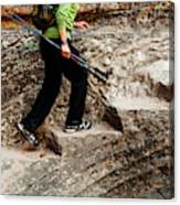 A Female Hiker Walking Up Steps Chopped Canvas Print