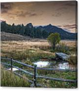 A Fence In A Field Canvas Print