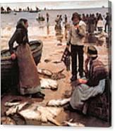 A Fish Sale On A Cornish Beach Canvas Print
