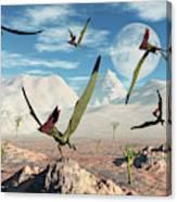 A Flock Of Thalassodromeus Pterosaurs Canvas Print