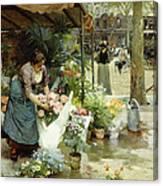 A Flower Market In Paris Canvas Print