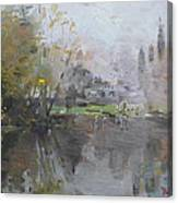 A Foggy Fall Day By The Pond  Canvas Print