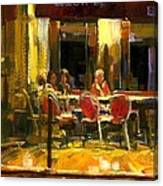 A French Cafe And Friends Canvas Print