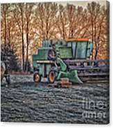 A Frosty John Deere Turbo 7700 Combine Canvas Print