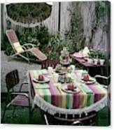 A Garden Set Up For Lunch Canvas Print