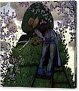 A Gardener Pruning A Tree Canvas Print