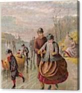 A Gentleman Helps A Lady Skate Canvas Print