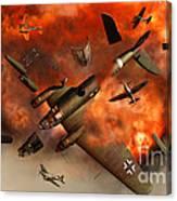A German Heinkel Bomber Plane Blowing Canvas Print