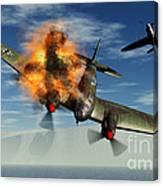 A German Heinkel Bomber Plane Crashing Canvas Print