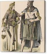 A German Man And Woman Of The  Bronze Canvas Print