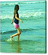 A Girl And Sea Canvas Print