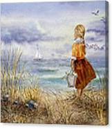 A Girl And The Ocean Canvas Print