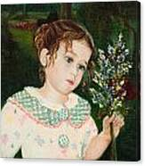 A Little Girl With Flowers Canvas Print