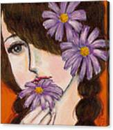 A Girl With Daisies Canvas Print