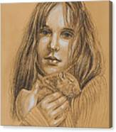 A Girl With The Pet Canvas Print