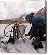 A Glaciologist Tinkers With A Steam Canvas Print