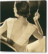 A Glamourous Woman Smoking Canvas Print