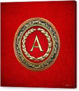 A - Gold Vintage Monogram On Red Leather Canvas Print