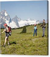 A Group Of Hikers In The Selkirk Canvas Print