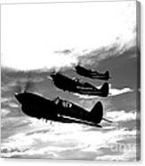 A Group Of P-40 Warhawks Fly Canvas Print