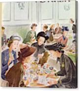 A Group Of Women Review A Dinner Receipt Canvas Print