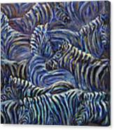 A Group Of Zebras Canvas Print