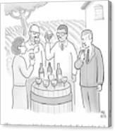 A Group Sample Wine At A Wine Tasting Vineyard Canvas Print