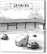 A Guy Is Driving Around A Zen Garden Making Canvas Print