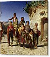 A Gypsy Family On The Road, C.1861 Oil On Canvas Canvas Print
