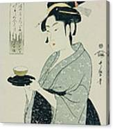 A Half Length Portrait Of Naniwaya Okita Canvas Print