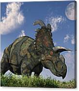 A Herd Of Albertaceratops Grazing Canvas Print