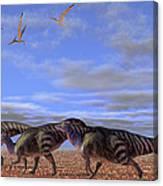 A Herd Of Parasaurolophus Dinosaurs Canvas Print