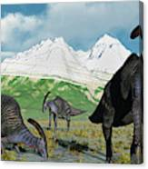 A Herd Of Parasaurolophus Dinosaurs Canvas Print