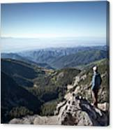 A Hiker Looks At The View Canvas Print