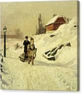 A Horse Drawn Sleigh In A Winter Landscape Canvas Print