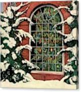 A House And Garden Cover Of A Christmas Tree Canvas Print