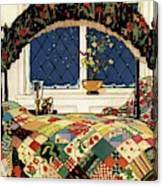A House And Garden Cover Of A Four-poster Bed Canvas Print