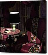 A House And Garden Cover Of A Lamp By An Armchair Canvas Print