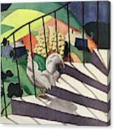 A House And Garden Cover Of A Rooster Canvas Print