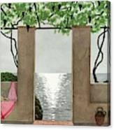 A House And Garden Cover Of A Seaside Patio Canvas Print