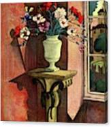 A House And Garden Cover Of A Vase Of Flowers Canvas Print