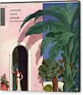 A House And Garden Cover Of A Woman In A Doorway Canvas Print