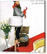 A House And Garden Cover Of A Woman With A Lamp Canvas Print