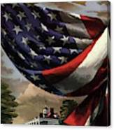 A House And Garden Cover Of An American Flag Canvas Print
