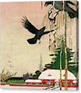 A House And Garden Cover Of Crows By A House Canvas Print