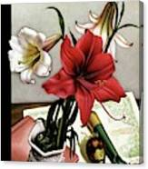 A House And Garden Cover Of Lilies Canvas Print