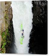 A Kayaker Takes The Plunge On Huge Canvas Print