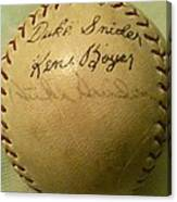 A Ken Boyer And Duke Snider Autograph Baseball Canvas Print