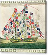 A King S Ship Dressed With The Colours Of Different Nations 6th October 1794 Canvas Print