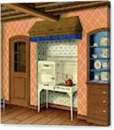 A Kitchen With An Old Fashioned Oven And Stovetop Canvas Print